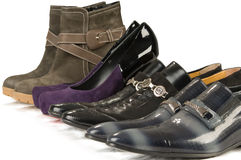Man's and female footwear Stock Image