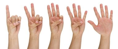Man's finger pointing from one to five Stock Photo