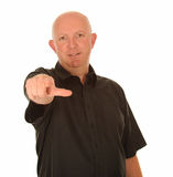 Man's finger pointing at you Stock Photography
