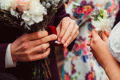 Man& x27;s fingers hold red velvet box with wedding rings Royalty Free Stock Photography