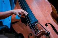 Man`s fingers play strings on his double bass during live jazz performance. Extreme of a virtuoso`s hand and musical instrument stock photo