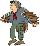 Man's First Flight. This illustration depicts a man wearing bird feathers on his arms and a helmet with goggles on his head Stock Photo