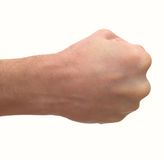 Man's fist. Isolated on a white background Stock Photos