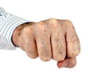 Man's fist over white Stock Photos
