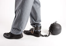 Man's foot with prison ball Royalty Free Stock Image