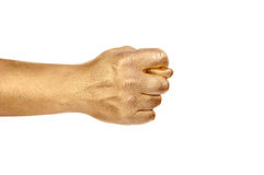 Man's golden hand show a sign fico. Royalty Free Stock Images