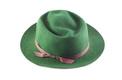 Man's Green Hat with Ribbon Royalty Free Stock Images