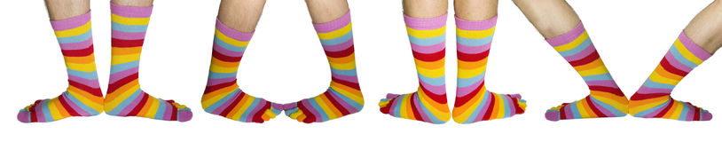 Man's hairy feet in colour socks. The image of man's hairy feet in bright striped socks Royalty Free Stock Image