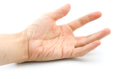 Man's hand. The weakened man's hand turned palm up stock images