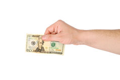 Man's hand with a banknote Stock Photo