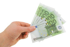 Man's hand with the bills. Of one hundred euros Royalty Free Stock Image
