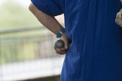 Man`s hand with boules in hand royalty free stock photo
