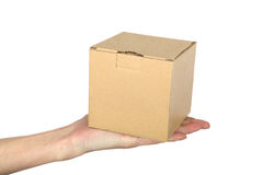 Man's hand with box Royalty Free Stock Image
