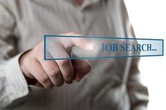 Man's hand clicks on the address bar job search Royalty Free Stock Photos