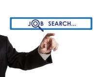 Man's hand clicks on the address bar job search Stock Photos