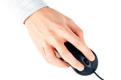 Man's hand on computer mouse Royalty Free Stock Photo