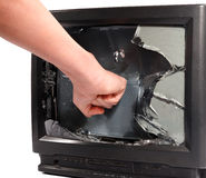 Man's hand crush television screen Stock Images