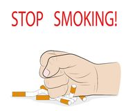 A man`s hand crushes cigarettes. STOP SMOKING! concept of the ban on smoking. vector illustration. A man`s hand crushes cigarettes. STOP SMOKING! concept of the Stock Photography