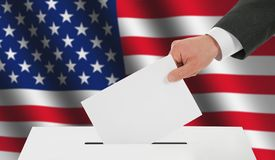Man's hand down the ballot Royalty Free Stock Images