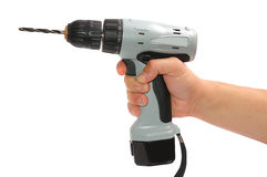 Man's hand with a drill. On white Royalty Free Stock Photo