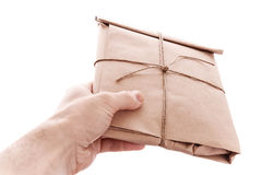 Man's hand with envelope Royalty Free Stock Photos