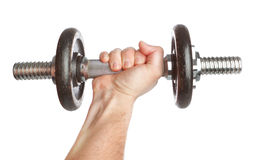 Man's hand and Fitness dumbbell. Stock Photos