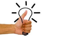 Man`s hand with gesture like and holding light bulb on white background Stock Images