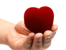 Man's hand gifting heart Royalty Free Stock Photography
