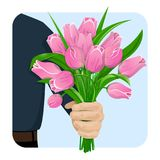The man gives flowers-02. A man s hand gives a bouquet of pink tulips. Flowers for the birthday, 8 March, Valentine s Day, anniversary. For gift cards, banners stock illustration