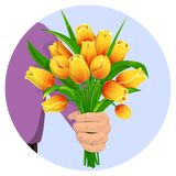 The man gives flowers-03. A man s hand gives a bouquet of yellow tulips. Flowers for the birthday, 8 March, Valentine s Day, anniversary. For gift cards, banners vector illustration