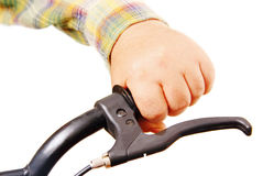 Man's hand on the handlebars. Royalty Free Stock Photo