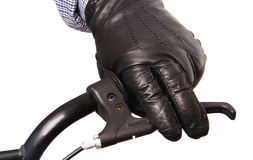 Man's hand on the handlebars. Stock Image