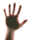 Man's hand (Hi!). Extremely Highlited hand on white background Royalty Free Stock Images