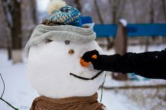 Man`s hand hold a big carrot, the nose of a real big snowman in winter park. Wintertime Stock Photography