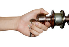 Man's hand hold doorknob on isolate white background Royalty Free Stock Photography