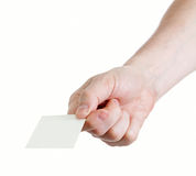 Man S Hand Holding Blank Paper Isolated On White Stock Images