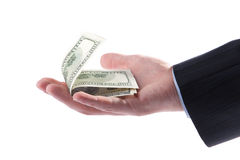 Man's hand holding dollar bills Stock Images