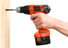 Man's hand holding drill Royalty Free Stock Images