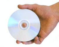 Man's hand holding DVD CD disc Stock Photo