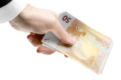 Man's Hand Holding Fifty Euro Notes Stock Image