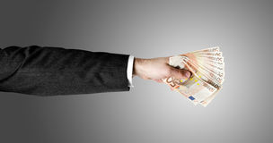 Man's Hand Holding Fifty Euro Notes Royalty Free Stock Photo