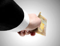 Man's Hand Holding Fifty Euro Notes Royalty Free Stock Photography