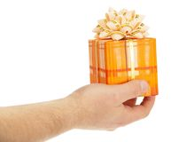 Man's hand holding the gift box Royalty Free Stock Photography
