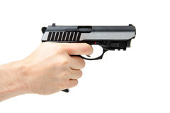 Man's hand holding gun, isolated on white Royalty Free Stock Photo