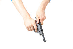 Man's hand holding gun, isolated on white Royalty Free Stock Image