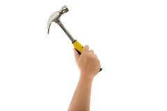 Man's hand holding hammer isolated Royalty Free Stock Photos