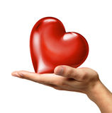 Man's hand holding a heart on palm, viewed from a side. Man's hand holding a red shiny heart on palm, viewed from a side. On white background. Clipping path Royalty Free Stock Image