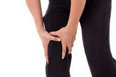 Man's hand holding knee joint pain Stock Images