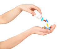 Man's hand holding a medicine pills Stock Images