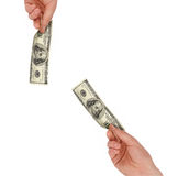 Man's hand holding a one hundred dollar bill Stock Images